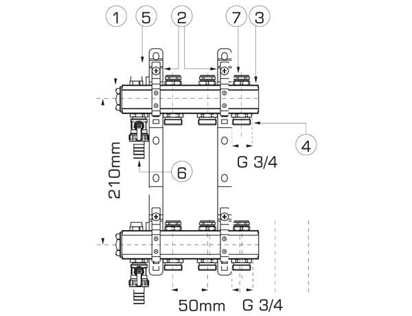 Schemat rozdzielacza mosiężnego do ogrzewania podłogowego i instalacji wyposażonej w grzejniki