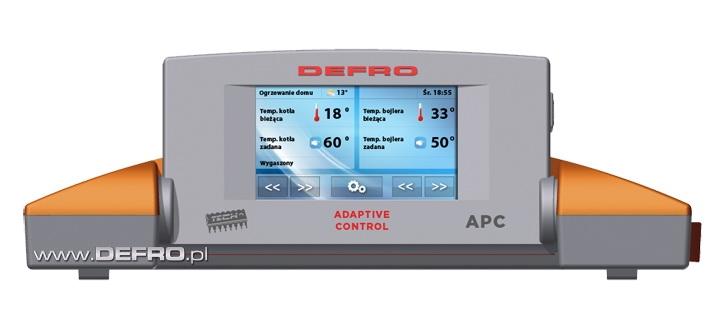 sterownik APC ADAPTIVE CONTROL wer. 3 obsługujący 4 pompy /c.o., c.w.u., obiegowa, podłogowa /. Sterowanie dwoma zaworami mieszającymi; podgląd i zmiana parametrów sterownika głównego ONLINE poprzez wbudowany moduł internetowy z gniazdem RJ-45 oraz poprzez dodatkowy moduł GSM