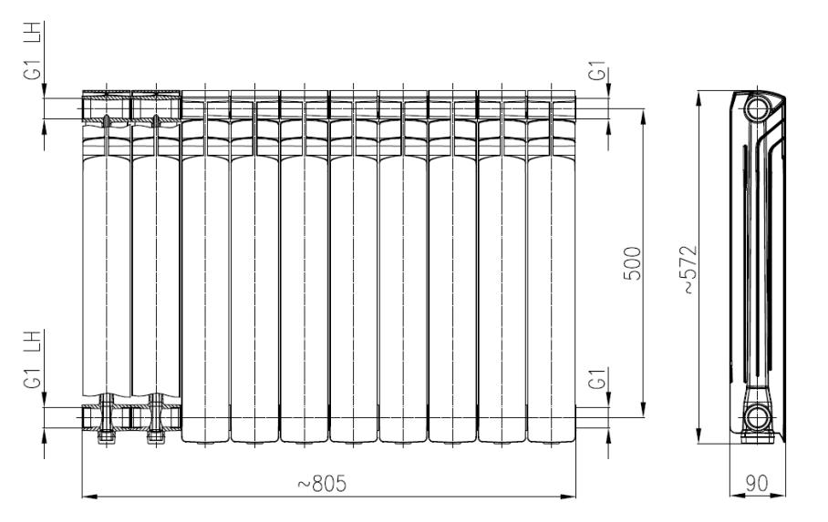 Wymiary grzejnika aluminiowego Armatura G500F