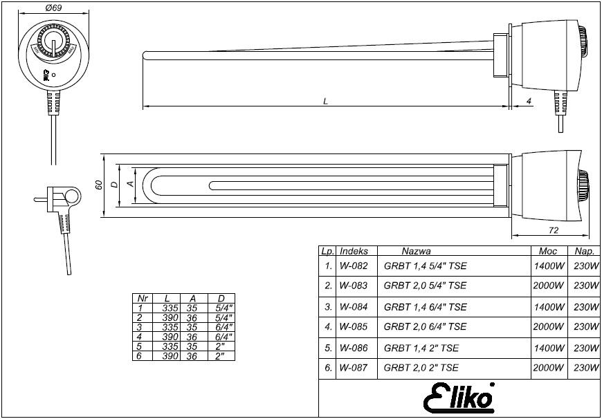 Rysunek techniczny grzałki do bojlera Eliko