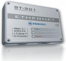Moduł Internetowy Ethernet do kotłów Zębiec pozwala na zdalną kontrolę pracy kotła przez sieć lokalną lub internet
