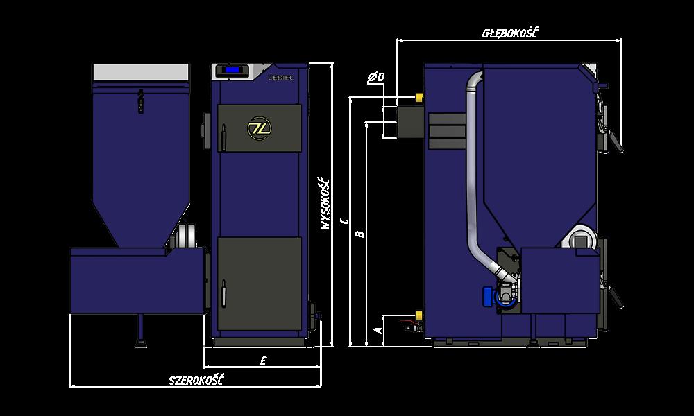 rysunek techniczny kotła TOPAZ