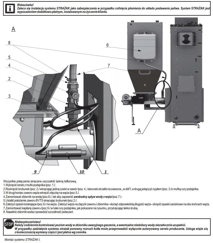 Montaż systemu STRAŻAK I w kotłach podajnikowych Defro