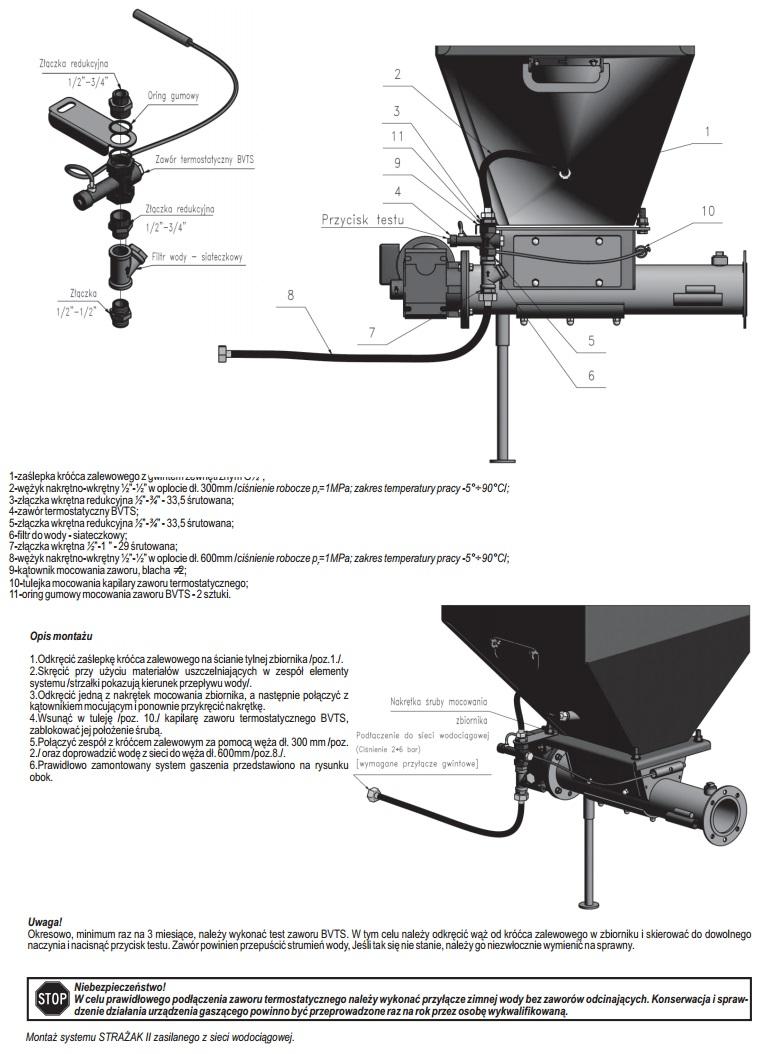 Montaż systemu STRAŻAK II zasilanego z sieci wodociągowej w kotłach DEFRO