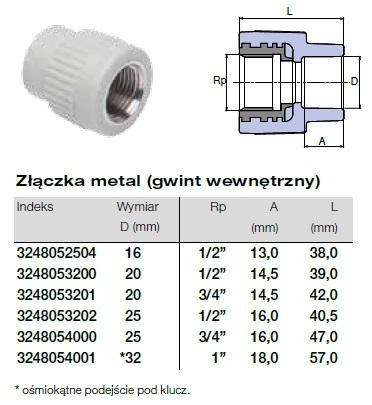 Złączka metal z gwintem wewnętrznym do sytemu instalacji Wavin Ekoplastik