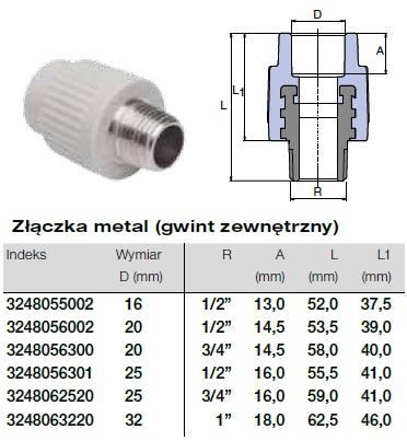 Złączka - gwint zewnętrzny - do instalacji w systemie Wavin Ekoplastik